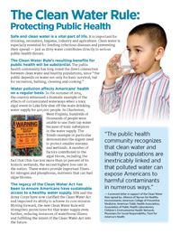 Public Health Fact Sheet - Protect Clean Water Campaign