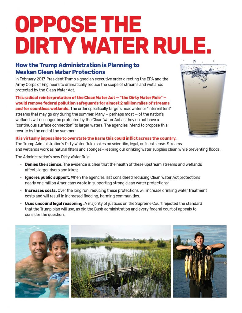Clean Water Rule Fact Sheet - Summer/Fall 2018