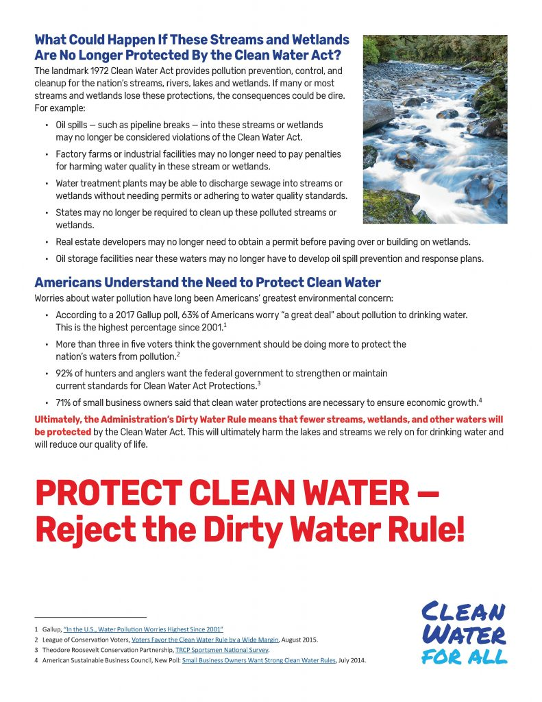 Oppose the Dirty Water Rule - Fact Sheet, August 2018