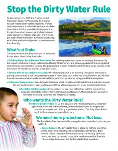 Fact sheet about the Dirty Water Rule, with sample letter to EPA.