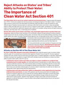 Fact Sheet -- The Importance of Section 401 of the Clean Water Act